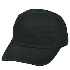 BLANK PLAIN BASEBALL HAT CAP SOLID ALL BLACK GARMENT WASH COTTON GAME LICENSED