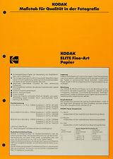 Kodak ELITE Fine-Art Papier - Kodak Datenblatt P-E1