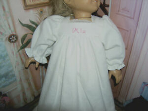 "New Mia Embroidered Name White Nightgown 18"" Doll clothes fits American Girl"