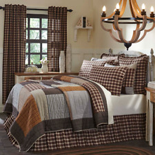 Rory King Block Patchwork Quilt 105x95 Cotton Country Farmhouse VHC Brands