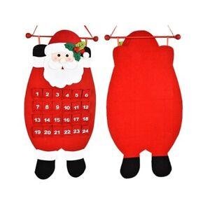 Non-woven Christmas Countdown Calendar Xmas Decor Santa Hanging Pendant Cute