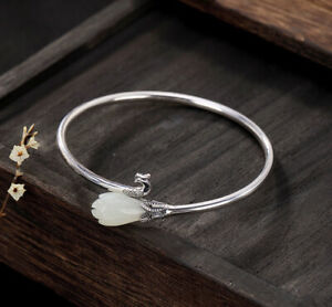 I02 Bangle Silver 925 Phoenix and Flower From White Jade