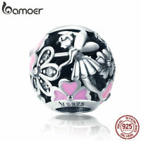 Bamoer Retro S925 Sterling Silver charm Bead Enamel Flowers With CZ Fit Bracelet