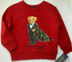 POLO Ralph Lauren Youth SZ XL 16-18  Red Holiday Christmas Tree Bear Sweatshirt