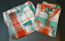Red Ape Size 5X Short Set Orange Blue Plaid  Shorts Shirt Short Seeve
