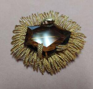 Vintage Topaz Color Faceted Large Gold Tone Modernist Pin Brooch