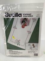 "Bucilla Stamped Cross Stitch Kit Rosebuds Tablerunner 14""X44""40552 1990 Vtg"