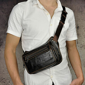 Men Real Leather 8'' Mobile Phone Camera Climbing Waist Pack Messenger Bag