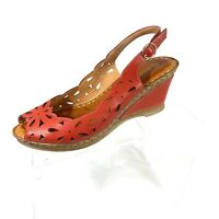 Patrizia by Spring Step Women's Wedge Sandals Slingback Red  Size 39 US 8.5