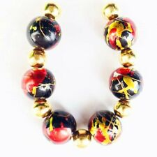 6Pcs/set 10mm Gold/Red/Black Titanium Crystal Round Ball Pendant Bead F41999
