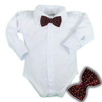 Baby Boys Bodysuit Shirt RED BOW Outfit Special Occasion Christening Wedding