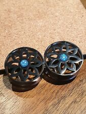 Pair Stainless Steel Black Flower Ear Plug Flesh Tunnels Stretcher Taper 8-25mm