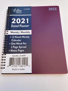 2021 Weekly/Monthly Planner Appointment Agenda Organizer 8x10 Spiral BURGUNDY