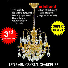 Brass Crystal Chandelier 6arms battery LED LAMP Dollhouse miniature light swich