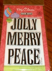 """CLEAR ACRYLIC HERO ARTS STAMPS JOLLY ~1.5"""" LARGE CHRISTMAS greeting wks CTMH blk"""