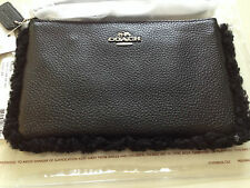Coach Small Wristlet In Leather And Shearling - Silver/Black/Black NWT- 64709