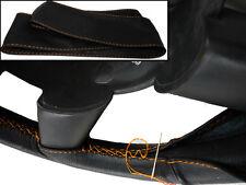 Para Honda Civic 92-05 Negro Cuero Italiano cubierta del volante puntadas de hilo naranja