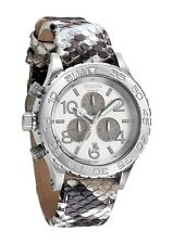 Nixon Mens The 42-20 CHRONO Lefty Stainless Steel White Snake Leather Watch NEW