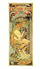 """Alphonse Mucha 1976 Authentic Vintage Art Nouveau Print """"IMPRIMERIE RISO FILS"""""""