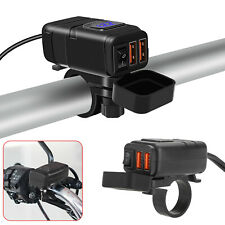 Waterproof Dual QC3.0 USB 12V Motorcycle Handlebar Phone Fast Charger +Voltmeter