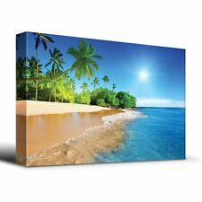 Palm trees on tropical beach vacation - Canvas Art Home Decor - 16x24 inches
