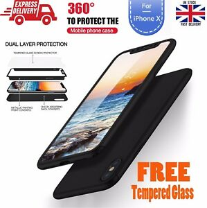 For Apple iPhone 10 X 360° Shockproof Slim Case Cover Screen Protector