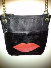 NEW SEQUIN SHOULDER STRAP PURSE WITH RED SEQUIN LIPS