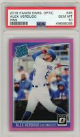 2018 Panini Donruss Optic #45 Pink Prizm ALEX VERDUGO RC PSA GEM MT 10  POP 1