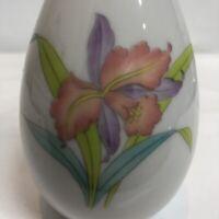 """Orchid Mist Otagiri Japan Bud Vase Hand Painted Floral Vintage 7 3/4"""" Elegant"""