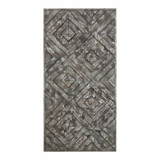 Argyle Wood Mosaic Distressed Wall Art | Panel Sculpture Diamond Pattern Retro
