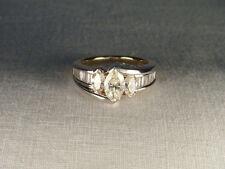 Rare 14K White Gold Yellow Diamond Three-Stone Engagement Anniversary Band Ring