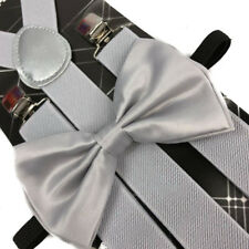 Champagne Silver Bow Tie & Matching Suspender Tuxedo Wedding Party Accessories