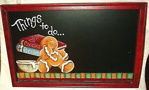 """THINGS TO DO WOOD FRAME MEMO BOARD GINGERBREAD MAN COOK BOOKS HOME DECOR 11""""x17"""""""
