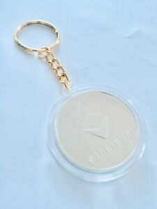 Ethereum ETH Crypto Silver-plated Collectable Novelty Coin Keychain Keyring