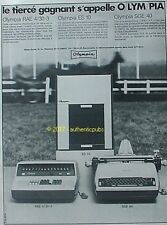 PUBLICITE OLYMPIA MACHINE A ECRIRE CALCULATRICE COPIEUSE DE 1968 FRENCH AD PUB
