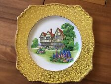 ROYAL WINTON GRIMWADES PLATE COUNTRY HOUSE FLORAL GOLD YELLOW RARE COLLECTORS