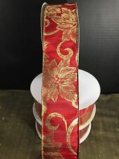 "2.5"" Wired Red Satin With Bold Gold Poinsettias Christmas Ribbon 40 Yard Rolls"