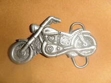 Motorcycle shaped silver metal Monster belt buckle die-cut Biker biker Mobtown