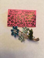Betsey Johnson lovely Crystal Enamel Flower Charm Women's Brooch Pin-BJ10680