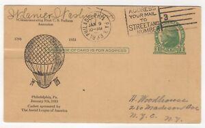 1933 Jan 9th. Commemorative Postcard First U.S. Balloon Ascension.
