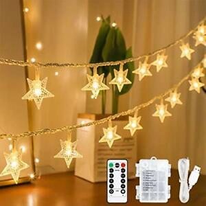 Led Star Fairy Lights, 15M 100 LED String Lights with Remote& Timer, USB or