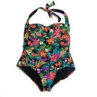 Catalina Halter Floral Swimsuit One Piece Plus Size  1x 16w Black Pink Swimwear