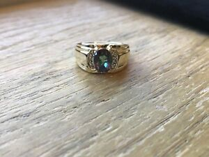 10KT Solid Yellow Gold Vintage Mystic Topaz Diamond Ring