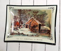 Vtg Courier and Ives Dish The Old Homestead In Winter Smoke Glass MCM Decorator