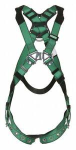 MSA V-FORM 10197160 Standard Full Body Harness w/Tongue Buckle Leg Straps XL