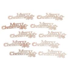 10PCS Merry Christmas Letter Cut Wooden Ornaments Party Crafts Decoration