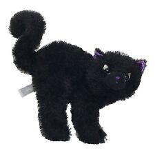 "Aurora Black Cat 9"" Plush Toy Standing Kitty Purple Nose Ears Halloween Decor"