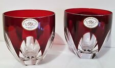 PAIR AJKA  LORELLE LEAD CRYSTAL WHISKEY DOF TUMBLERS / GLASSES , NEW, SIGNED