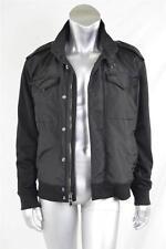 RALPH LAUREN BLACK LABEL Mens Casual Black Knit-Sleeve Cargo Zip Jacket Coat L