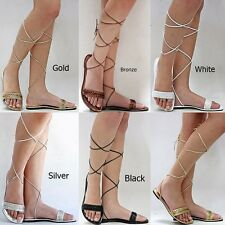 New Womens XM1 White Gold Silver Beaded Gladiator Wrap Lace Up Flat Sandals